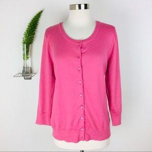 Talbots Pretty Pima Cotton Pink Cardigan Size (L)